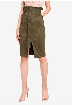 5a33a91151 River Island green Faux Suede Paperbag Pencil Skirt 916E4AA6184A1DGS_1