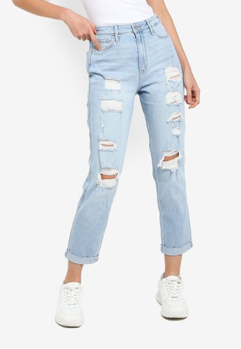 Hollister blue Shred Ultra High Rise Mom Jeans F8A17AA141D67FGS_1
