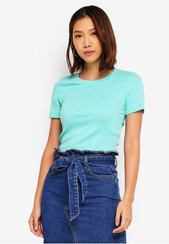 Cotton On green Beth Close To The Body Rib Top 16EF0AABB0FAB1GS_1