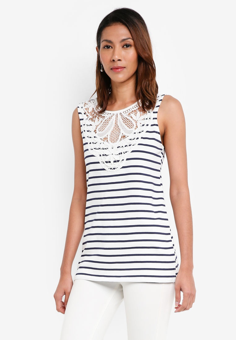 Dorothy Ivory Lace Ivory Striped Yoke Perkins Top Shell RqrBR
