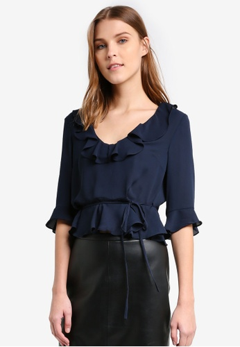 TOPSHOP navy Ruffle Detail Blouse TO412AA0T0VNMY_1