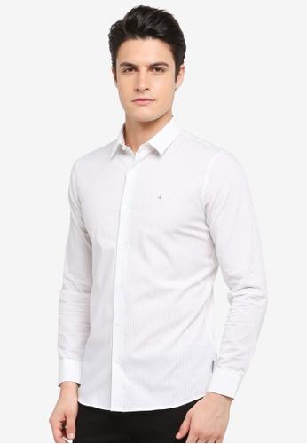 Calvin Klein white Bariyd Long Sleeve Striped Shirt - Calvin Klein Jeans 68B69AA3D6FF60GS_1