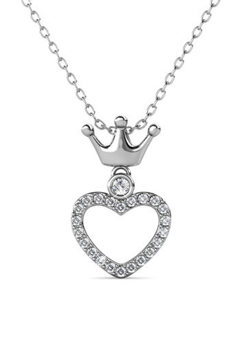 Her Jewellery silver Princess Crown Pendant (White Gold) - Made with premium grade crystals from Austria D45E5AC680DBCFGS_1