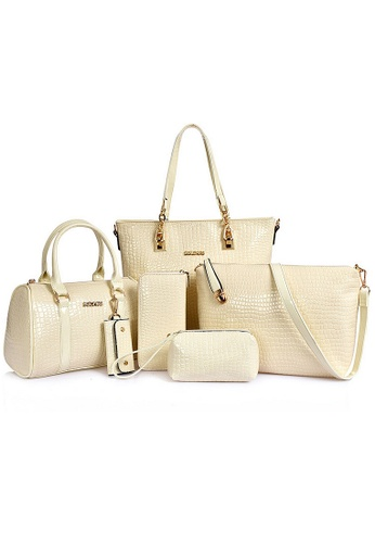 LULUGIFT white Luxury Glamour Artificial Crocodile Leather Bag 6n1 Set White LU989AC41EXMMY_1