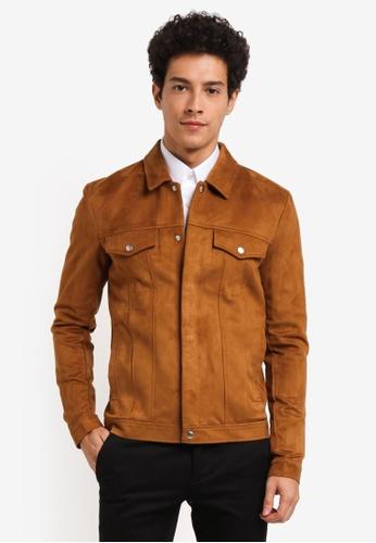 Topman brown Tan Faux Suede Western Jacket DA7F3AADCAE2D6GS_1