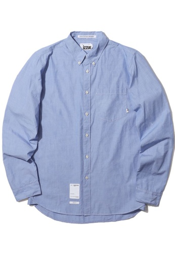 izzue blue Logo patch poplin shirt AAD07AA7021A33GS_1