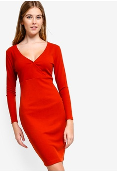 84d38e20c450 Something Borrowed red Ribbed Wrap Bodycon Dress 25ED0AABD0CCBAGS 1