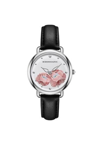 BCBG black BCBGMAXAZRIA BG51135001 Silver and Black Leather Watch F5DDEAC82B80ADGS_1