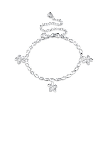 Glamorousky silver Fashion Simple Flower Anklet 3AC94AC3C1AD50GS_1