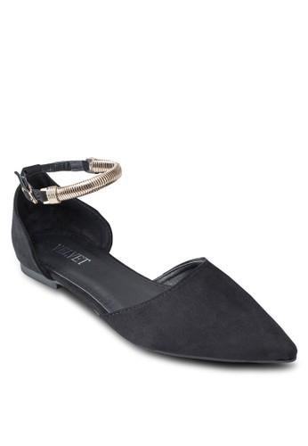 Linsey 鏈飾繞踝尖頭平底鞋, 女鞋esprit童裝門市, 鞋