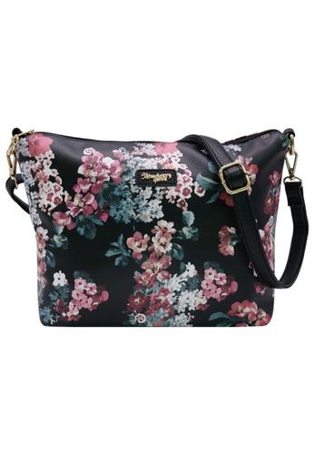STRAWBERRY QUEEN black and red Strawberry Queen Flamingo Sling Bag (Floral E, Black) FDF75AC024B0AFGS_1