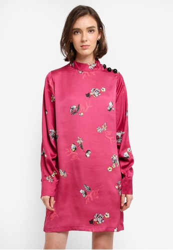 Mango pink Floral Print Dress CA93CAA534D450GS_1