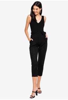 8aa1d464ed8 60% OFF Dorothy Perkins Petite Black Glitter Jumpsuit RM 269.00 NOW RM  107.90 Sizes 16