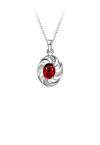 Glamorousky white Fashion Elegant Geometric Oval Pendant with Red Cubic Zircon and Necklace B7762AC757F55BGS_1