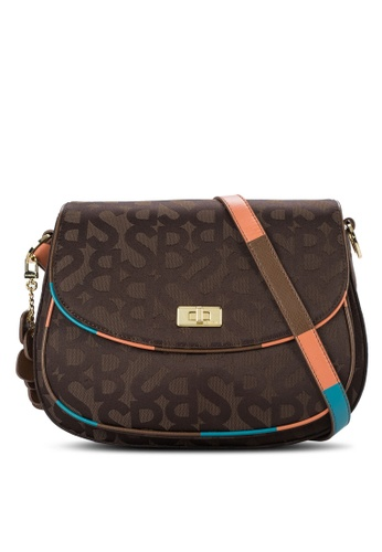 SEMBONIA brown SEMBONIA Initial Jacquard Trimmed Leather Monogram Crossbody Bag SE598AC81VXMMY_1