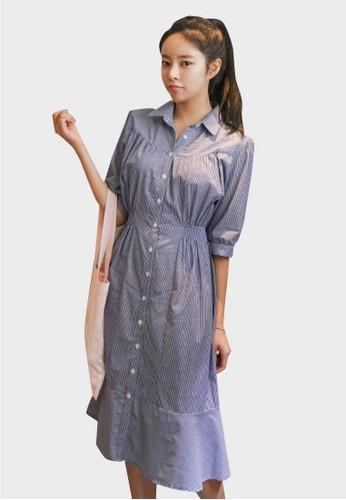 襯衫領esprit 童裝條紋連衣裙, 服飾, 洋裝