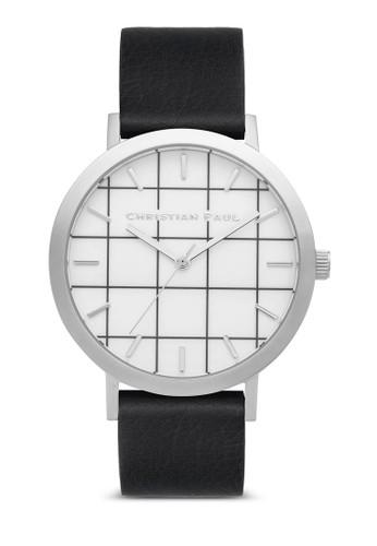 Eesprit台灣outletlwood 格紋手錶, 錶類, 皮革錶帶