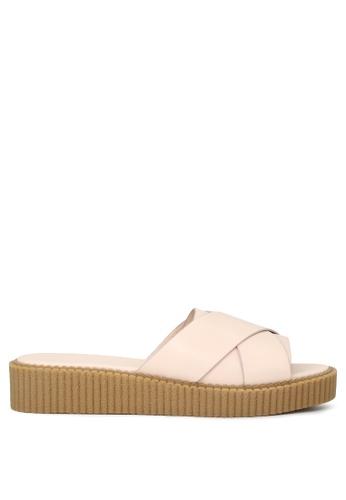 London Rag 米褐色 肤色交叉带平底托凉鞋 948AASH11F64E4GS_1