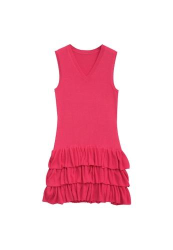KLAPS red Ruffles Tiered V-neck Dress C307FAA0769427GS_1