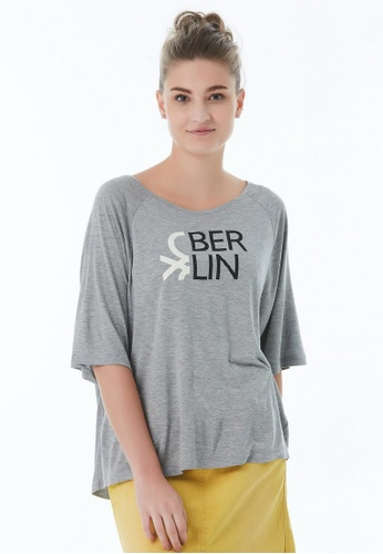 United Colors of Benetton grey Round Neck T-shirt ECAE7AA69A4D4BGS_1