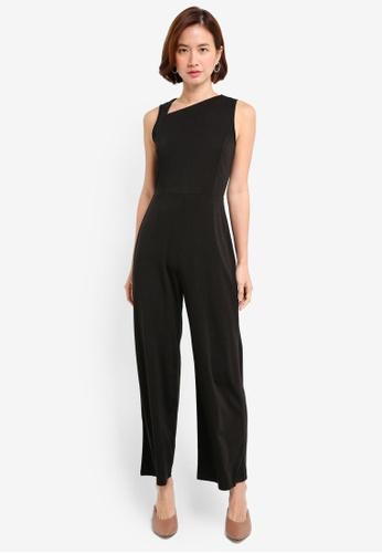 ZALORA black Asymmetrical Neckline Jumpsuit F01F6AA6783274GS_1