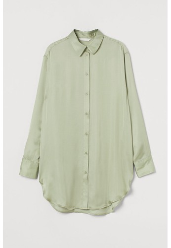 H&M green Satin shirt A1041AA4C4B91DGS_1