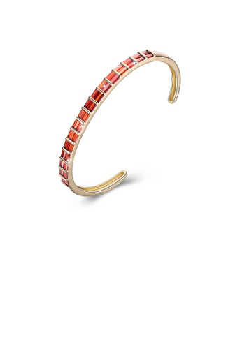 Glamorousky red Fashion Plated Champagne Gold Open Bangle with Red Austrian Element Crystal 8CA28AC858775BGS_1