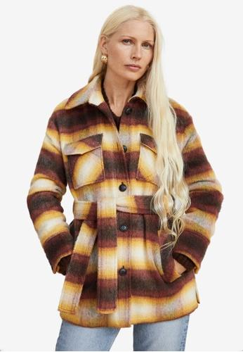 Mango yellow Checkered Wool-Blend Coat 89724AABB0DE25GS_1