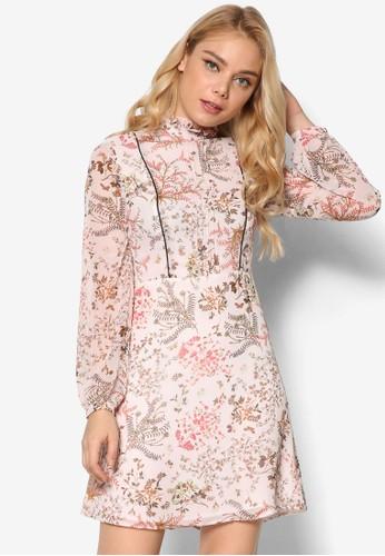 花卉長袖迷你連身裙, esprit台灣服飾, 洋裝