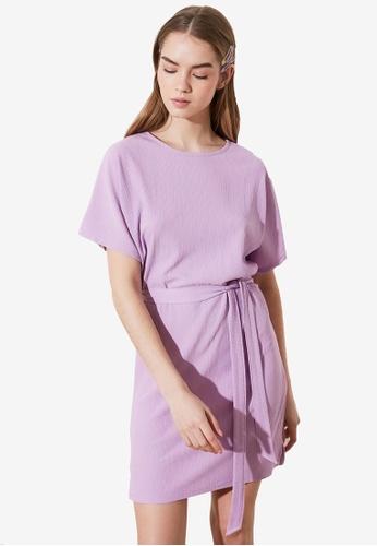 Trendyol purple Textured Dress Dress with Sash 521A2AA905E6A6GS_1