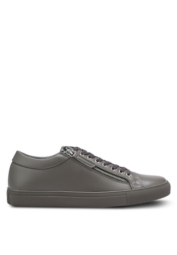 ZALORA grey Contemporary Faux Leather Sneakers with Zippers 51DC2SHF02085DGS_1