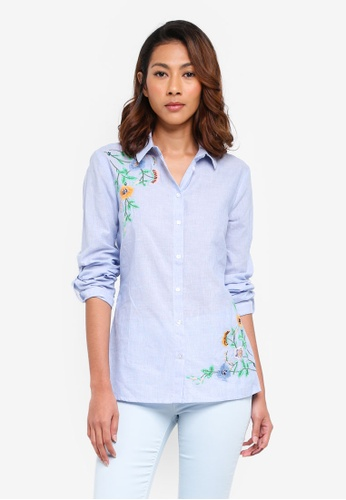 Dorothy Perkins blue Blue Beaded Embroidered Shirt A3351AAB391056GS_1