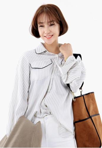 口袋細節條紋襯衫, 服飾zalora taiwan 時尚購物網鞋子, 襯衫