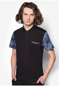 Number Printed Mesh Sleeve Polo