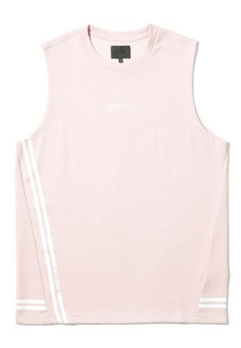 MUSIUM DIV pink Stripe detailed logo print muscle tee CA004AA5F641ACGS_1