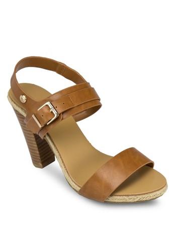 Cathlyn 寬帶繞踝木製粗跟鞋esprit台北門市, 女鞋, 高跟