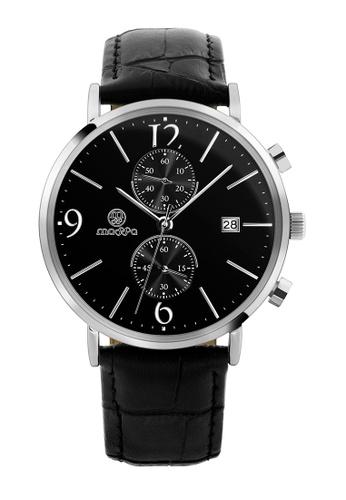 Massa Collections Generous Black Silver Chronograph Quartz Leather Watch B2044AC1F5B0E2GS_1