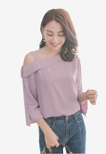 YOCO purple One Shoulder Trumpet Sleeves Top 478EBAA1C3A024GS_1