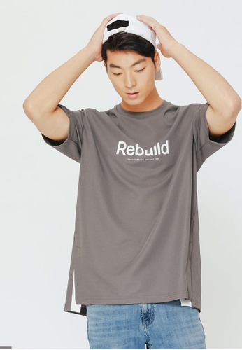 H:CONNECT grey Letter Print T-Shirt 3FEE2AAFAC389AGS_1