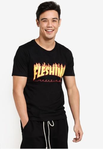 Flesh IMP 黑色 Flaming Flesh Imp Tharasher T-Shirt FL064AA87WYUMY_1