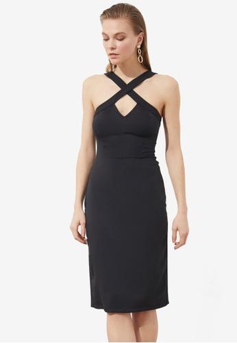Trendyol black Cross Neck Detail Dress 0B56FAAF97F3ECGS_1