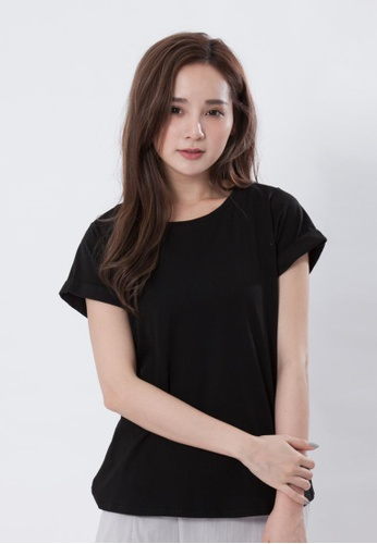 1dcb703506ff so that s me black Folded Sleeves Plain Cotton T-shirt SO555AA23EGUHK 1