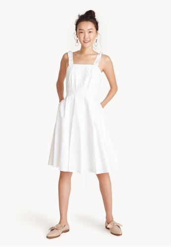 Pomelo white Ruffle Strap Square Neck Dress - White FB59FAA6E9331FGS_1