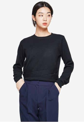 NAIN black Belted Knit Top 762E4AAFE6AEA3GS_1