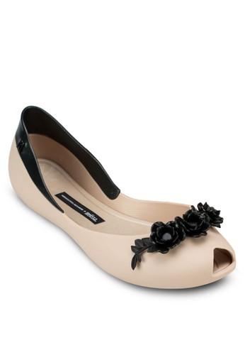 Flower Qesprit outlet 高雄ueen + Alexandre Herchcovitch 側鏤空魚口平底鞋, 女鞋, 芭蕾平底鞋