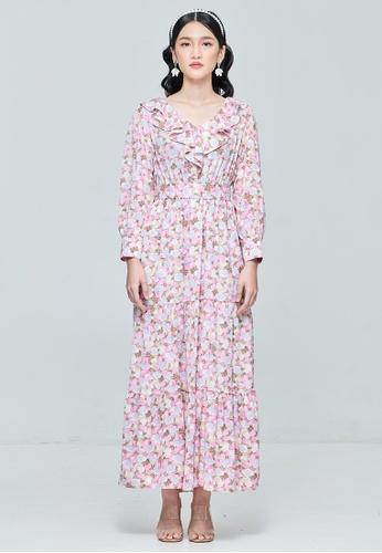 MC Vogue pink Pink Ruffle Collar Dress 0FB2EAAD249010GS_1