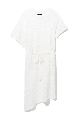 tout à coup white Textured tie waist dress 850D4AA252328CGS_1