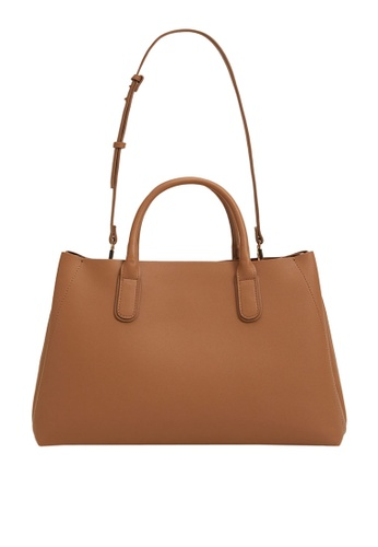 Mango brown Shopper Bag With Handles F60D5AC6CD91C7GS_1
