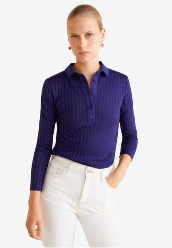 Mango navy Ribbed Cotton T-Shirt 56AB2AAAE7DFCCGS_1