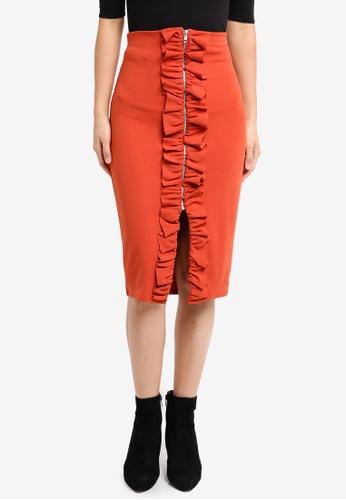 LOST INK orange and brown Ruffle Split Midi Skirt LO238AA0T1SHMY_1